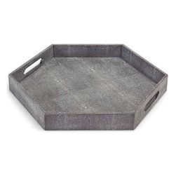 Regina Andrew - Shagreen Hex Tray, Charcoal - This tray has both functional and decorative properties. It's a great fit for any space. This hexagon tray can be placed on ottomans and table tops.