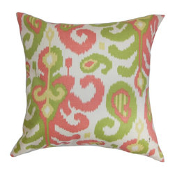 "The Pillow Collection - Scebbi Ikat Pillow Pink Green 18"" x 18"" - Incorporate bright and fun hues into your interiors with this perky throw pillow. This decor pillow reverberates positive vibes with its ikat pattern in gorgeous shades like pink, yellow, white and green. Toss this square pillow as an accent piece for your living room or bedroom. Incorporate other patterns with this 18"" pillow for a modern look. Made from 100% soft cotton fabric. Hidden zipper closure for easy cover removal.  Knife edge finish on all four sides.  Reversible pillow with the same fabric on the back side.  Spot cleaning suggested."