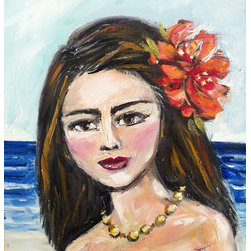 """Island Girl""  (Original) by Maren Devine - Retro-look. I have kind of been liking the Tiki style of art lately, so I painted this Island Girl portrait"
