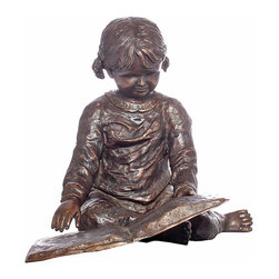 Randolph Rose - Nursery Rhymes - Delightful Bronze Statue of a Young Girl Reading a Book.
