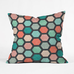 Honeycomb Throw Pillow Cover - Design and color make a fabulous duo in the Honeycomb Throw Pillow Cover. This woven polyester, made-to-order beauty entices the eye with well-balanced, energetic coloration, and ties everything together with a calming charcoal backdrop.
