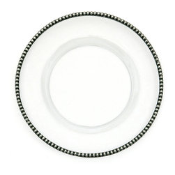Tesoro Plates - Charger - A striking charger that naturally combines well with any table setting, the Tesoro Charger Plate would be uniquely desirable even were it only a clear, mouth-blown glass dish.  Its edge, however, is rimmed in weighty pewter with a sizeable pattern of repeated beads � creating classicism with a novel look.  Pair with casual dinnerware for an exquisite increase in detail and formality.