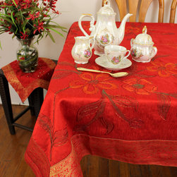 "Unique & Decorative Tablecloths - Holidays Decor ""Scarlet Red"" Square Tablecloth. Painted by hand in India. Dupion Silk fabric. Available in 45x45in, 45x90in, and 54x110in."