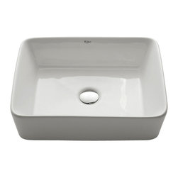 Kraus - Kraus White Rectangular Ceramic Sink - *Add an elegant touch to your bathroom with a Kraus ceramic washbasin