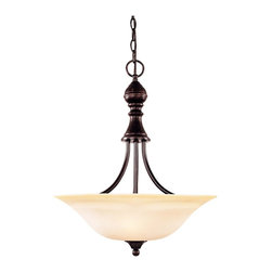 Karyl Pierce Paxton - Karyl Pierce Paxton 7-1709-3-13 Sutton Place Traditional Inverted Pendant Light - This collection has the look of traditional fixtures with a little modern flair. The soft curves in the arms and classic embellishments make this family flawless. The Cream Faux Marble glass will add a soft glow to your room and the Seeded glass adds that
