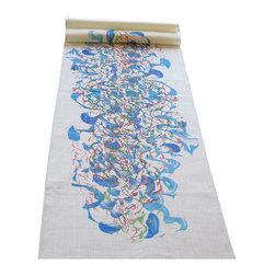 The Artist's Table - Skip Table Runner, Skip Centered Table Runner 15 X 72 - 'Skip' by Madeline Lazarus is a happy energetic of marks and colors.  This beautiful signed art is bright blues, mellow pinks and browns on a oyster background.  Each piece is printed individually and finished with a modern served edge.  Fits well into the mid-century look or as the decorative backdrop to your event.  Printed on 100% Belgian Linen and finished in Sonoma County, California by artisans.