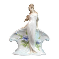 US - 7.25 Inch Glazed Porcelain Napkin Holder Standing Nymph Purple Iris - This gorgeous 7.25 Inch Glazed Porcelain Napkin Holder Standing Nymph Purple Iris has the finest details and highest quality you will find anywhere! 7.25 Inch Glazed Porcelain Napkin Holder Standing Nymph Purple Iris is truly remarkable.