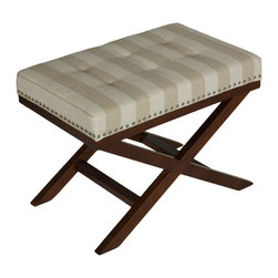 Cortesi Home - Kayla X Bench Ottoman, Beach Stripes - The Kayla ottoman is a stylish and functional piece for your home. Crossed solid wood legs provide both stability and elegance and are complimented with a linen or leather like vinyl cushion. The cushion has  square tufting and a silver nail-head trim finishes off the design elements.