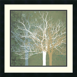 Amanti Art - Quiet Forest Framed Print by Erin Clark - Bring a fresh, modern feel to your decor with this stunning art print by Erin Clark. Using pale, marbleized hues and overlapping, silhouetted trees, the artist combines diverse elements to striking effect.