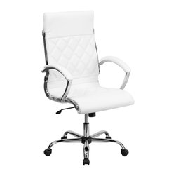 Flash Furniture - Flash Furniture Office Chairs Leather Executive Swivels X-GG-ETIHW-HGIH-H7921-OG - This elegant office chair will add an upscale appearance to your office with its attractive stitched seat and back. The comfort molded seat has built-in lumbar support and features a locking tilt mechanism for a mid-pivot knee tilt. If you're looking for a modern office chair that provides a sleek look, then the Designer Upholstered Leather Office Chair by Flash Furniture delivers. [GO-1297H-HIGH-WHITE-GG]