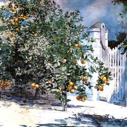 "Winslow Homer Orange Tree, Nassau (also known as Orange Trees and Gate) - 16"" x - 16"" x 24"" Winslow Homer Orange Tree, Nassau (also known as Orange Trees and Gate) premium archival print reproduced to meet museum quality standards. Our museum quality archival prints are produced using high-precision print technology for a more accurate reproduction printed on high quality, heavyweight matte presentation paper with fade-resistant, archival inks. Our progressive business model allows us to offer works of art to you at the best wholesale pricing, significantly less than art gallery prices, affordable to all. This line of artwork is produced with extra white border space (if you choose to have it framed, for your framer to work with to frame properly or utilize a larger mat and/or frame).  We present a comprehensive collection of exceptional art reproductions byWinslow Homer."