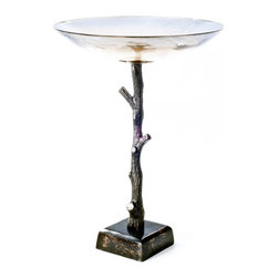 Rojo16 - Burnt Topaz Glass Bowl - Rojo 16 Costa Brava Burnt Topaz Glass Bowl made from iron and glass that inspired by the Sublime beauty of Spain's coast, This piece combines detail in design and Mediterranean flare for Everyday living. Perfect for your choice of application as a graceful glass bowl on top of a long stem base.