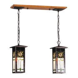 """Meyda Tiffany - 28""""L Pasadena Rose 2 Lt Lantern Island Pendant - Sparkling deep brown Root Beer glass frames surround an arts and crafts inspired plum colored rose with Cottage Green leaves and accents and cornerstone beige background. The roofed lantern shades are supported by a hand painted replica oak and Mahogany Bronze finished canopy and chain in this 2 light pendant."""