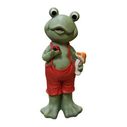 Alpine - Alpine Frog Boy in Red Suspenders with Ladybug - QWR290 - Shop for Statues and Sculptures from Hayneedle.com! About Alpine CorporationAlpine Corporation has offices in Arizona Colorado Florida Iowa and Ohio. With a firm belief in the free enterprise system Alpine Corporation promotes equal treatment for customers employees shareholders suppliers and the community. Alpine Corporation carries a vast array of items including fountains pond and garden accessories and statuary and carries lighting and parts as well. A steadfast goal for Alpine Corporation is to continually exceed their customers' increasing expectations.