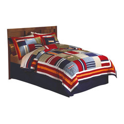 Pem America - Ronnie Patchworks Full / Queen Quilt with 2 Shams - The Ronnie Patchwork quilt set features bright, bold colors in a classic geometric design. This quilt features pockets for sorting all kinds of things. This quilt is a wonderful addition to any boys bedroom decor. If you are wanting to update his space in a classic way then the Ronnie Patchwork quilt set is perfect you. Hand crafted set includes 1 full/queen quilt (86x86 inches) and 2 standard shams (20x26 inches). Face is 100% cotton, reverse is 100% microfiber.  Prewashed for out of the bag comfort.  Filled with 94% cotton / 6% other fibers. Hand crafted with embroidery. Machine Washable.