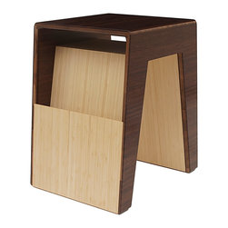Brave Space Design - Hollow End Table, Chocolate, Natural Bamboo - Keep your magazines organized and your living space looking chic with this modern bamboo end table. Choose between three colors for the table top and pair it with a sleek sofa or side chair. Its simple lines will add the perfect touch of style to your living room.