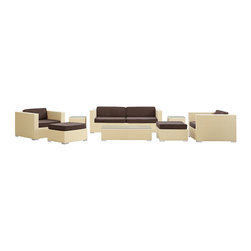 LexMod - Venice Outdoor Wicker Patio 8-Piece Sofa Set in Tan with Brown Cushions - Let serenity penetrate your being and distractions fade away with this modern outdoor set. Sit leisurely as an unwavering inner joy rises to the surface and a firm message of relaxation and harmony take hold. Dynamic lines help infuse your special gatherings with perfect measures of energy and calm as your respite turns waves of activity into serenity.
