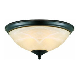 DHI-Corp - Trevie 2-Light Flush Ceiling Mount Light, Oil Rubbed Bronze - The Design House 517375 Trevie 2-Light Flush Ceiling Mount Light is made of formed steel, antique alabaster glass and finished in oil rubbed bronze. This 2-light ceiling mount is rated for 120-volts and uses (2) 60-watt medium base incandescent bulbs. As one of the most popular styles of light fixtures, ceiling mounts are suited for any room in the house as they hang close to the ceiling with a classic half-moon shape. Measuring 5.7-inches (H) by 13-inches (W), this 4.2-pound fixture's flared steel details accentuate the antique glass to create a sleek centerpiece over a dining room table, in an entry way or in a kitchen. This product is UL and CUL listed. The Trevie collection features a beautiful matching chandelier, vanity light, wall sconce and mini pendant. The Design House 517375 Trevie 2-Light Flush Ceiling Mount Light comes with a 10-year limited warranty that protects against defects in materials and workmanship. Design House offers products in multiple home decor categories including lighting, ceiling fans, hardware and plumbing products. With years of hands-on experience, Design House understands every aspect of the home decor industry, and devotes itself to providing quality products across the home decor spectrum. Providing value to their customers, Design House uses industry leading merchandising solutions and innovative programs. Design House is committed to providing high quality products for your home improvement projects.