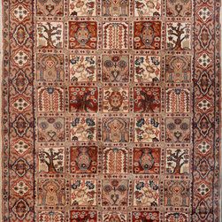 "ALRUG - Handmade Multi-colored Persian Silk Bakhtiar Rug 4' 1"" x 6' (ft) - This Pakistani Bakhtiar design rug is hand-knotted with Silk on Cotton."