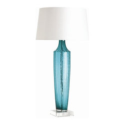 Arteriors Home - Arteriors Home Wilhelmina Aqua Ribbed Glass/Acrylic Lamp - Arteriors Home 17018 - Arteriors Home 17018-714 - Ribbed glass bottle shape in a beautiful turquoise color is mounted on a square acrylic base and shaded in white microfiber.