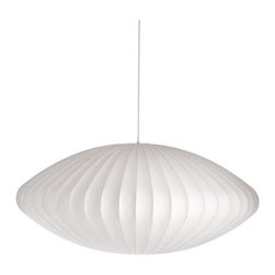 Modernica - Nelson Saucer Pendant Lamp - This saucer pendant lamp was designed by architect George Nelson, Herman Miller's design director. It's made in the USA, and additional shapes and sizes are available.