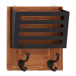 Shiny Polished Wood Metal Wall Letter Holder - Description: