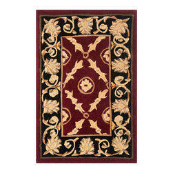 Safavieh - Naples Burgundy and Black Rectangular: 5 Ft. x 8 Ft. Rug - - Exquisite traditional rugs inspired by classic beauty and current enough for everyday decors  - Pile Height: 0.63  - Construction: Hand Tufted  - Shedding is a normal occurrence and will reduce over time with frequent vacuuming. It is also recommended that you vacuum regularly to prevent dust and crumbs from settling into the roots of the fibers. AVOID DIRECT AND CONTINUOUS EXPOSURE TO SUNLIGHT. USE RUG PROTECTORS UNDER THE LEGS OF HEAVY FURNITURE TO AVOID FLATTENING PILES. DO NOT PULL LOOSE ENDS CLIP THEM WITH SCISSORS TO REMOVE. TURN CARPET OCCASIONALLY TO EQUALIZE WEAR. REMOVE SPILLS IMMEDIATELY ; IF LIQUID BLOT WITH CLEAN UNDYED CLOTH BY PRESSING FIRMLY AROUND THE SPILL TO ABSORB AS MUCH AS POSSIBLE. FOR HARD TO REMOVE STAINS PROFESSIONAL RUG CLEANING IS RECOMMENDED. STORE IN A DRY WELL-VENTILATED AREA. USE OF A RUG PAD IS RECOMMENDED. Safavieh - NA521B-5