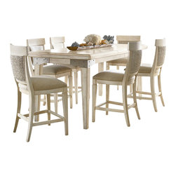 American Drew - American Drew Americana Home 7-Piece Rectangular Conversation Dining Room Set - Americana Home is a casual lifestyle grouping with an eclectic mix of design elements, finishes, and materials. Crafted with Pin knotty oak veneers with hardwood solids. Americana Home creates an inviting and comfortable setting for any lifestyle and personality. The best elements of casual country, modern lodge, coastal cottage and urban loft living combine to bring a unique sense of timeless and comfortable places from all over the American landscape. Americana Home creates an inviting and comfortable setting for any lifestyle and personality. Design the perfect timeless escape in your own home.