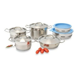 Berghoff - BergHOFF Hotel Line 12-Piece Cookware Set with Covered Mixing Bowls - Each cookware piece in this distinctive Hotel Line set features durable 18/10 stainless steel construction for lasting use, plus a 4-layer capsule base for a lifetime of cooking perfection and compatibility with all heat sources, including induction.