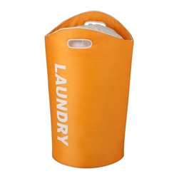 """Laundry Tote - Honey-Can-Do HMP-03543 Foam Laundry Tote, Orange.  Carry your laundry in style with this brightly colored laundry tote. This always-open tote makes for quick and easy loading and unloading. The sturdy foam interior keeps the bag vertical even when it's empty, yet it's flexible enough to pull both handles together for one-handed carrying. A mesh drawstring closure at the top of the tote helps keep your laundry in place, and the word """"laundry"""" is printed on the tote so you won't forget what is inside."""