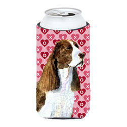 Caroline's Treasures - Springer Spaniel Hearts Love Valentine's Day Tall Boy Koozie Hugger - Springer Spaniel Hearts Love Valentine's Day Tall Boy Koozie Hugger Fits 22 oz. to 24 oz. cans or pint bottles. Great collapsible koozie for Energy Drinks or large Iced Tea beverages. Great to keep track of your beverage and add a bit of flair to a gathering. Match with one of the insulated coolers or coasters for a nice gift pack. Wash the hugger in your dishwasher or clothes washer. Design will not come off.