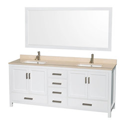 """Wyndham Collection - Wyndham Collection Sheffield 80"""" White, Ivory Marble, Square Sink - Wyndham Collection®"""