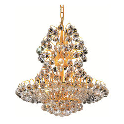 Elegant Lighting - Elegant Lighting 2908D24G/EC Sirius 14 Light Chandeliers in Gold - 2908 Sirius Collection Hanging Fixture D24in H28in Lt:14 Gold Finish (Elegant Cut Crystals)
