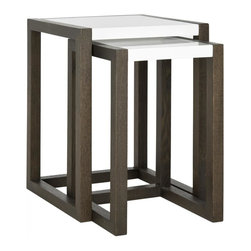 Safavieh - Egan Lacquer Stacking Table - When it comes to entertaining, Egan stacking tables are a smart decorating solution. Crafted of wood in contrasting white lacquer and grained dark brown finishes, this table within a table set is brimming with clean-lined contemporary style.