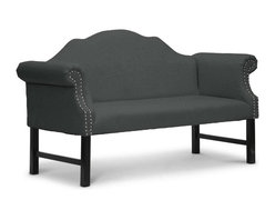 """Baxton Studio - Baxton Studio Pryor Gray Linen Modern Loveseat Bench - Sometimes luxury comes in the simplest of forms. Our Pryor Designer Upholstered Bench is perfect as a foyer bench or entryway chair but features the unexpected: lush gray linen upholstery. Equally suitable for a dining area or living room, the Pryor Banquette is Chinese-made with an engineered wood frame, black wood legs, and foam cushioning (CA117 compliant). Just a touch of detailing makes an appearance in the scroll arms with silver upholstery tack trim. Additional upholstery tack trim lines the back of the piece. The Pryor Victorian Loveseat requires minor assembly and calls for spot cleaning as necessary. Also available is the Pryor Victorian Bench in beige linen (sold separately). Product dimension: 63.75""""W x 28.12""""D x 37.5""""H, seat'sion: 50.25""""W x 18.5""""D x 20.75""""H, arm height: 30.25"""""""