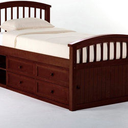 NE Kids - Schoolhouse Captains Bed - Cherry - FUB388 - Shop for Beds from Hayneedle.com! The Schoolhouse Captain Bed - Cherry is not only tough and pretty it's a veritable storage machine. Constructed from sturdy hardwood this piece will be a stable and long-lasting addition to your child's space and in dark cherry it will enrich and vivify it as well. This piece is available in twin and full sizes for children of all ages. The twin bed measures 81L x 42W x 43H (headboard) and 32H (footboard) inches. The full bed measures 81L x 57.75W x 43H (headboard) and 32H (footboard) inches.About New Energy KidsNE Kids is a company with a mission: to create and import truly unique furniture for your child. For over thirty years they've been accomplishing this mission with flying colors one room at a time. Not only will these products look fabulous they will provide perfect safety for your children by adhering to the highest standards set by the American Society for Testing and Material and the Consumer Products Safety Commission. Your kids are in the best of hands and everyone will appreciate these high-quality one-of-a-kind pieces for years to come.