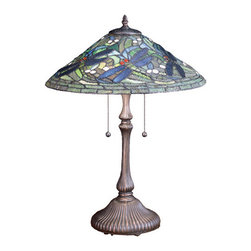 "Meyda Tiffany - 24""H Tiffany Flying Dragonfly Table Lamp - In our version of Tiffany Studio's most beloved design, dragonflies with glowing Scarlet jeweled eyes and delicate Cobalt with metal filigree wings dart overhand cut and copper foiled clear rippling glass with Sky Blue reflections. This exquisite stained glass shade is complemented by a coordinating lamp base finished in a warm hand applied Mahogany Bronze."