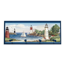 illumalite Designs - Lighthouse Sailboat Plaque Coat Rack with Pegs - Lighthouses and sailboats are featured on this nautical plaque. This 10.25 in. by 25 in. plaque is the perfect way to add a nautical touch to any room. Features 4 painted wooden pegs to hold anything from coats to keys. The handpainted navy blue border highlights the colorful design