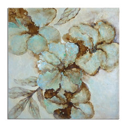 Uttermost - Uttermost 34260  Fairy Blooms Floral Art - This hand painted artwork on canvas features a high gloss finish and is stretched and attached to wooden stretching bars. due to the handcrafted nature of this artwork, each piece may have subtle differences.