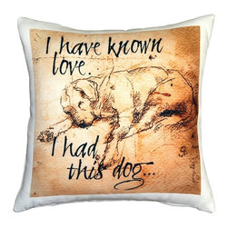Pillow Decor - Leonardo's Dogs I Have Known Love Sleeping Lab Dog Pillow - Created in the style of a Leonardo da Vinci sketch, this sleeping Labrador image is applied to a wonderfully soft and natural feeling indoor/outdoor poly-linen fabric. The I Have Known Love Sleeping Lab Dog Pillow makes a great gift for anyone who owns and loves this gentle and faithful breed. Or incorporate this pillow into your own home to celebrate the unconditional affection that your dog shares with you. A Leonardo's Dogs original.