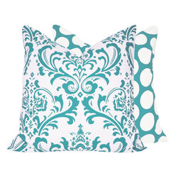 """Turquoise Mist 18x18"""" Pillow l Chloe and Olive - Instant Makeover: Pillow Covers. Chloe & Olive's Home Decor products provide easy and affordable ways to add pizazz and warmth to any room. Our pillows have a unique style: contrasting yet coordinating pillow sides that you can flip to create a different look or mix and match depending on your mood. We use premium designer home decor fabrics and trim with YKK invisible zippers and superior hand-sewn construction."""