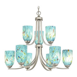 Design Classics Lighting - Modern Chandelier with Blue Glass in Satin Nickel Finish - 586-09 GL1021D - Contemporary / modern satin nickel 9-light chandelier. Takes (9) 100-watt incandescent A19 bulb(s). Bulb(s) sold separately. UL listed. Dry location rated.