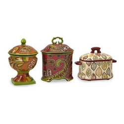 Paige Boxes - Set of 3 - Set of 3 ceramic boxes that each illustrate different patterns and shapes, perfect addition to any room