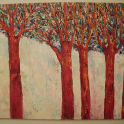 Audrey Mabee, 'Red Trees' - 1988, signed original oil on canvas with artist's gold-colored wood frame. Please allow additional lead time as this artwork is shipped from Canada (to Seattle), before being shipped to buyer.