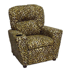 Brazil Furniture - Home Theater Children's Recliner - This theater-themed Children's Cupholder Recliner is a fun gift for any child who enjoys watching TV or playing video games. This recliner achieves a balance between fun and comfort for any child with a built-in cupholder to give the cool theater feel. These child-size pieces of furniture are built to fit anywhere from the living room to the bedroom. Safe, easy to clean, and built to last. Features: -Built-in cupholder for a fun theater-feel.-Solid Oak frame with plush fiber fill backrest.-Flared poly fill armrests and foam seat.-Product Type: Recliner.-Distressed: No.-Frame Material: Oak.-Arms Included: Yes.-Upholstered Seat: Yes -Seat Upholstery Material: Cotton.-Removable Seat Cushions: No.-Removable Seat Cushion Cover: No.-Tufted Seat Upholstery: No.-Welt on Seat Cushions: No..-Upholstered Back: Yes -Back Upholstery Material: Cotton.-Removable Back Cushions: No.-Back Cushion Fill Material: Fiber.-Removable Back Cushion Cover: No.-Tufted Back Upholstery: Yes.-Welt on Back Cushions: No..-Nailhead Trim: No.-Rocker: No.-Swivel: No.-Glider: No.-Reclining: Yes.-Footrest Included: Yes.-Stackable: No.-Foldable: No.-Inflatable: No.-Legs Included: Yes -Number of Legs: 4.-Leg Material: Plastic.-Protective Floor Glides: No..-Casters: No.-Cupholder: Yes.-Skirted: No.-Ottoman Included: No.-Adjustable Height: No.-Age Recommendation: Ages 3 to 9.-Outdoor Use: No.-Seating Capacity: 1.-Weight Capacity: 90.-Swatch Available: No.-Commercial Use: No.-Product Care: Wipe with a damp cloth and lukewarm water.-Country of Manufacture: United States.-Convertible: No.Dimensions: -Overall Height - Top to Bottom: 29.-Overall Width - Side to Side: 25.-Overall Depth - Front to Back: 25.-Seat Height: 13.5.-Seat Width - Side to Side: 14.-Seat Depth - Front to Back: 14.-Legs: -Leg Height: 1.25.-Leg Width: 2.-Leg Depth: 2..-Arms: -Arm Height: 18.-Arm Width: 5.5..-Storage: No.-Drawers: No.-Overall Product Weight: 30.Assembly: -Assembly Required: No.