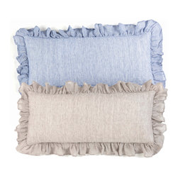 Savannah Linen Chambray Double Boudoir Pillow - 15 x 35 - Soft variation in the soothing, elite linen of the Savannah Chambray Double Boudoir Pillow grants interest to the smooth surface, but the gathered ruffles around the edges characterize the depth anew with their charisma and depth.  Give your bedroom a well-dressed, indulgent look or add a surprising touch of nostalgic appeal to a vintage sofa by adding this rectangular pillow.