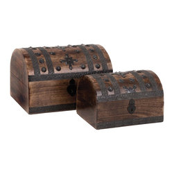 """Set of 3 Contemporary Wood Metal Box - Redefine the magnificence with this Wood Metal Box S/2 14"""", 11""""W. Its stunning design will captivate your heart and mind. Elegantly shaped like an Oriental style trunk, this box set has two wooden boxes that can be used as decor pieces. Elaborately detailed with ornate metal strips and carved metal rivets, this box set combines opulence with style. The nice wooden box set can be used as a decor piece on coffee tables, shelves, or as a storage option for jeweler and other knick-knacks. The attractively designed crescent lid is secured with a vintage style hinge latch, which gives this box set a classic, rustic look. Beautifully crafted from premium grade wood and metal, this wooden box set promises durable, lasting usage.. It comes with the following dimensions"""