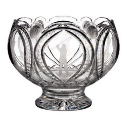 Waterford Crystal - Waterford Crystal Waterford Crystal Golf Engraved Punch Bowl-Golfer Swinging 160 - Waterford Waterford Golf Engraved Punch Bowl-Golfer Swinging  -  Don't Buy From An Unauthorized Dealer  -  Genuine Waterford Crystal  -  Fully Authorized U.S. Waterford Crystal Dealer  -  Stamped With The Waterford Seahorse Symbol Of Excellence  -  Waterford Crystal UPC Number: 024258519336