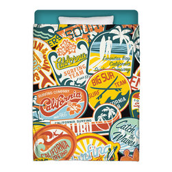 "Made In USA  ""California Vintage Stickers"" Surfer Bedding Twin Comforter - Surf Into Your Bed With This Premium ""California Vintage Stickers"" Twin Size Comforter From Our Surfer Bedding Bed and Bath Collection."
