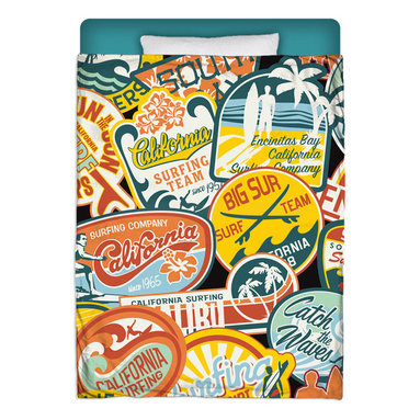 """California Vintage Stickers Surfer Comforter - Surf Into Your Bed With This Premium """"California Vintage Stickers"""" Twin Size Comforter From Our Surfer Bedding Bed and Bath Collection."""